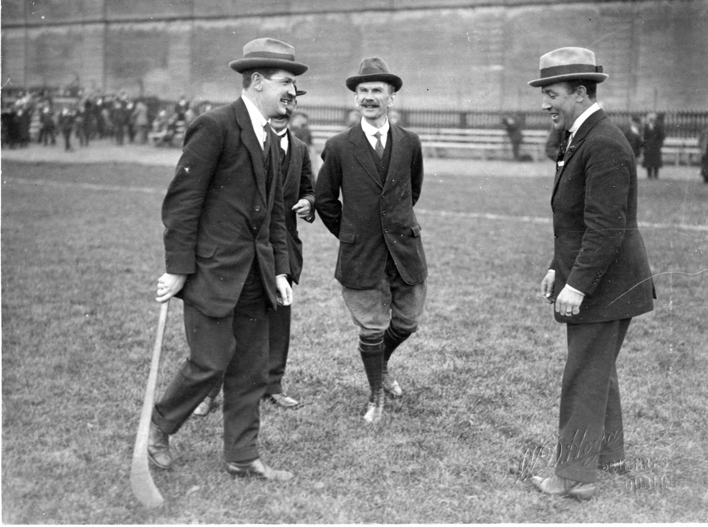 Michael Collins, Luke O'Toole, and Harry Boland pictured at Croke Park. O'Toole was General Secretary of the GAA from 1901 to 1929 and central to the success of 'Gaelic Sunday'.